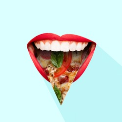 Fast food. Human mouth with red lips and the tongue as a pizza's slice on blue background. Negative space to insert your text. Modern design. Contemporary art collage. Concept of food, taste.