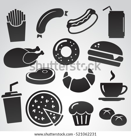 Fast food icon set isolated on white background.