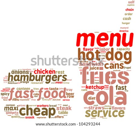 Fast food icon tag cloud with colored words on a white background