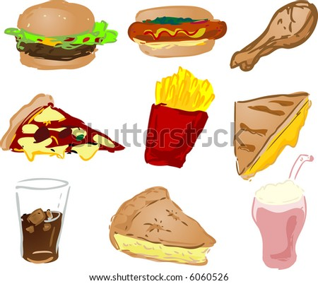 Fast food icons, hand-drawn look: hamburger, hotdog, fried chicken, pizza, fries, grilled cheese sandwich, coke, pie, shake
