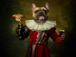Fast food. Model like medieval royalty person in vintage clothing headed by dog head on dark vintage background. Concept of comparison of eras, artwork, renaissance, baroque style. Creative collage.