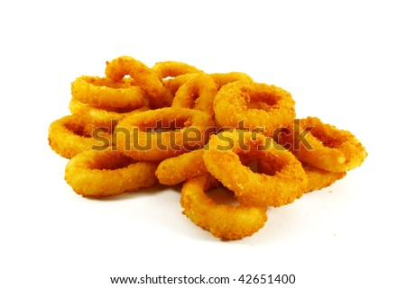 Fast Food Popular Side Dish of Onion Rings on White Background