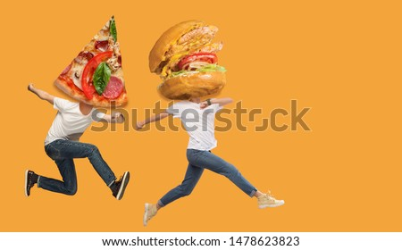 Fast food. Young caucasian people headed by pizza's slice and burgers or sandwiches running and jumping on orange background. Copyspace for your ad. Creative collage about nutrition.