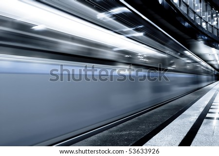 fast gray moving train by motion