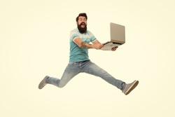 Fast internet. Technologies running world. Man run with modern laptop captured in motion. Never stop. Hipster surprised bearded web developer designer or programmer with laptop. Modern laptop concept.