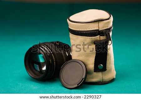 Fast lens with cap and pouch, on green background
