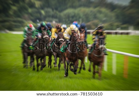 Fast motion horse racing speed #781503610