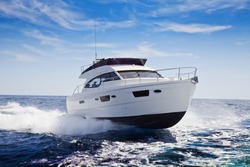 fast motor yacht in navigation, sea view