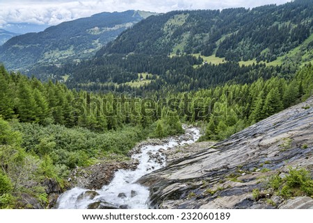 fast mountain river among green alpine forest #232060189