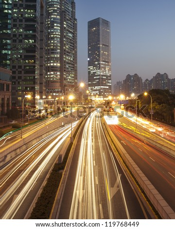 Fast moving cars at night ,shanghai china