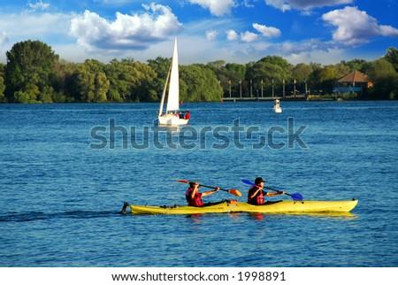 Fast moving kayak on a lake