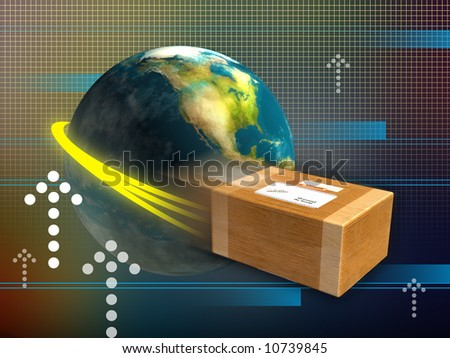 Fast package delivery around the world. Digital illustration. - stock photo