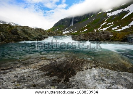 Fast river in a mountains
