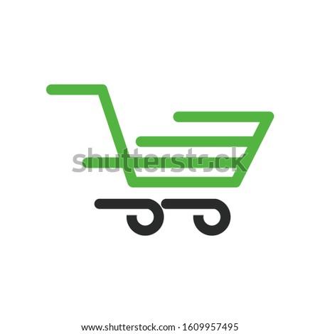 Fast run green trolly shopping logo template design. creative idea.