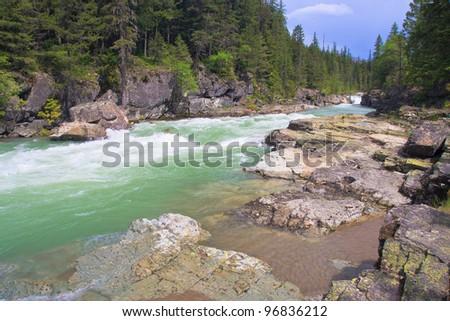 Fast running river in Glacier National Park