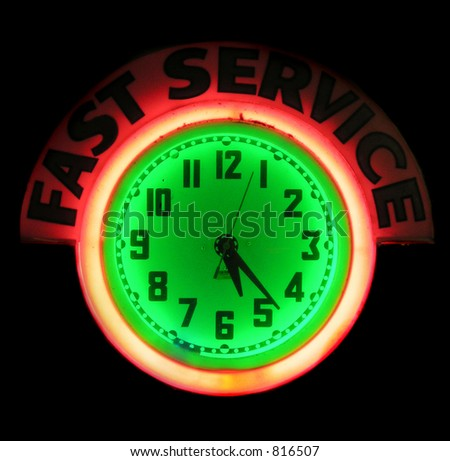 Fast Service and Clock neon sign