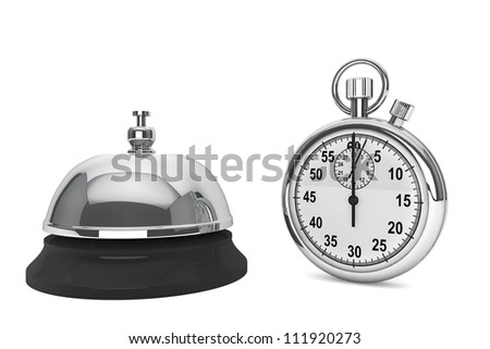 Fast Service Concept. StopWatch with service bell on a white background