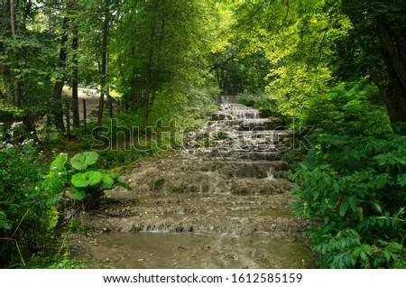 Fast stream in the Szalajka valley (Szalajka-völgy) falling steeply down in cascades, Beech Mountains (Bükk hegység), Hungary Stock fotó ©