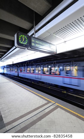Fast train in metro station, Vienna, Austria. Useful file for your brochure about Vienna transportation. #82835458