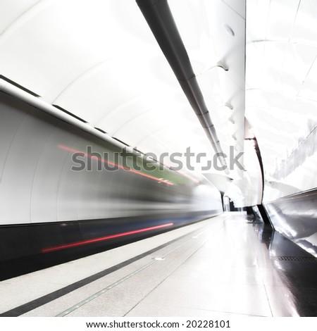 Fast train subway hall platform - stock photo