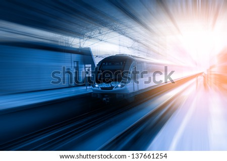 Fast train with motion blur. #137661254