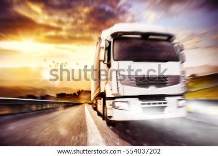 Fast transport truck. Mixed media #554037202