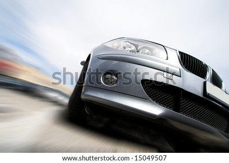 Fast vehicle moving with motion blur