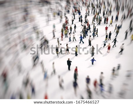 Fast zoom focus on a large group of people on white background. 3D Rendering. Photo stock ©