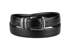 fastened fashionable men's black leather belt with dark matted metal buckle isolated on white background