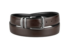 fastened fashionable men's brown leather belt with dark matted metal buckle isolated on white background