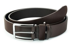 Fastened fashionable men's leather belt with dark matted metal buckle isolated on white background.