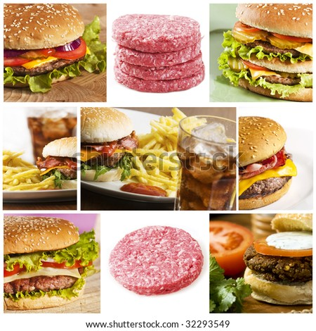 Fastfood collage with lots of hamburgers