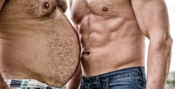 fat and slim. paunchy and slim bellies. bare torso and six packs or abs. muscular and fat. compare body shapes. perfect body. healthy lifestyle and dieting. Always in good shape. health and sporty.