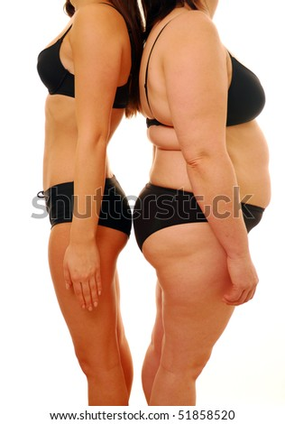 Fat and thin woman isolated on white