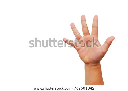 fat asian child girl's hand show gesture that show hand for mean present isolated on white background.