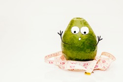 Fat avocado human frightened and confused with  his weight drawn emotions and eyes face and hands