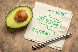 fat burning, diet and exercise concept - handwriting on napkin with avocado, healthy living concept