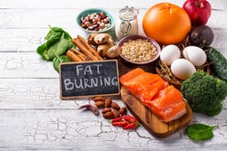 Fat burning products. Healthy food for weight loss