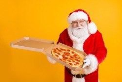 Fat grey beard santa claus deliver x-mas christmas night midnight present yummy pizza season shopping tradition cafeteria sale event wear cap headwear isolated bright shine color background