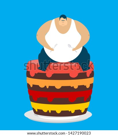 Fat guy and cake. Glutton Thick man and pie. fatso