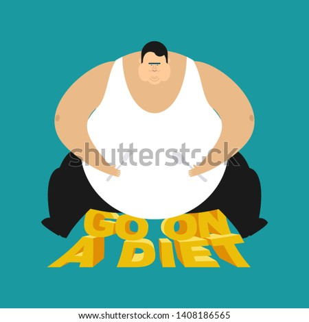 Fat guy go on a diet. Glutton Thick man. fatso