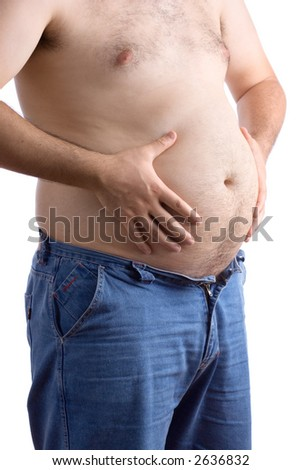 Fat guy holding his big belly against white background