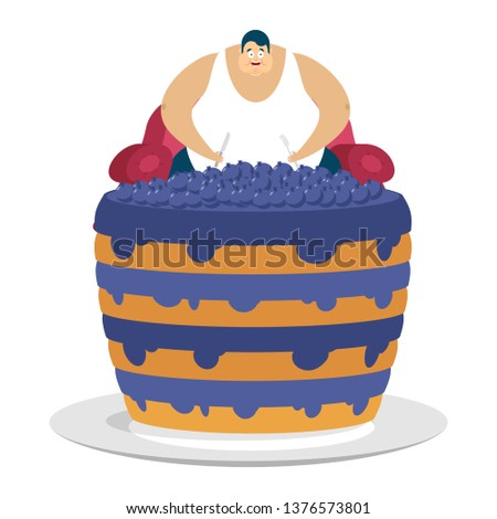 Fat guy is sitting on chair and blueberry cake. Glutton Thick man and pie. fatso