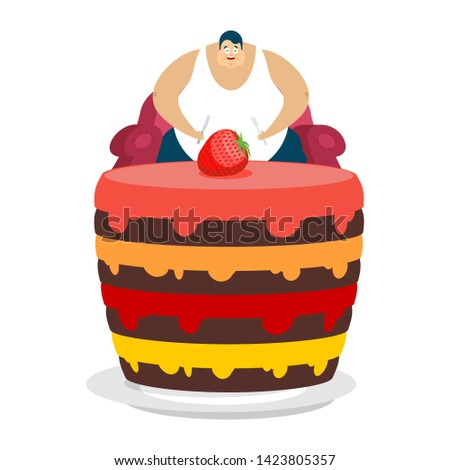 Fat guy is sitting on chair and cake. Glutton Thick man and pie. fatso
