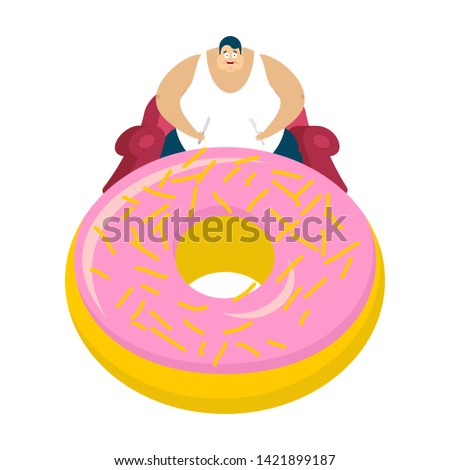 Fat guy is sitting on chair and donut. Glutton Thick man and cake. fatso