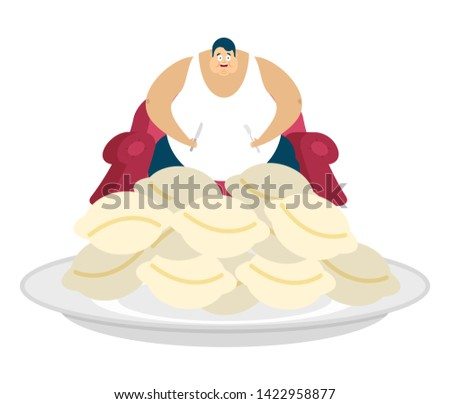 Fat guy is sitting on chair and dumplings. Glutton Thick man and food. fatso