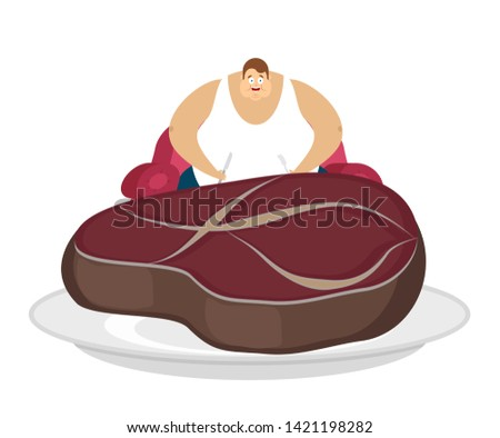 Fat guy is sitting on chair and steak. Glutton Thick man and piece of meat. fatso
