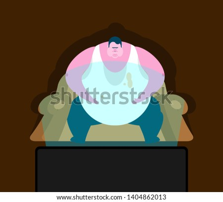 Fat guy is sitting on chair and TV. Glutton Thick man and televisor. fatso