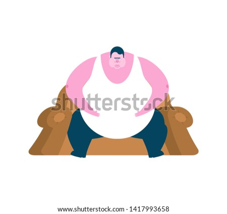 Fat guy is sitting on chair. Glutton Thick man. fatso