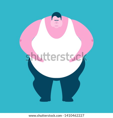 Fat guy isolated. Glutton Thick man. fatso